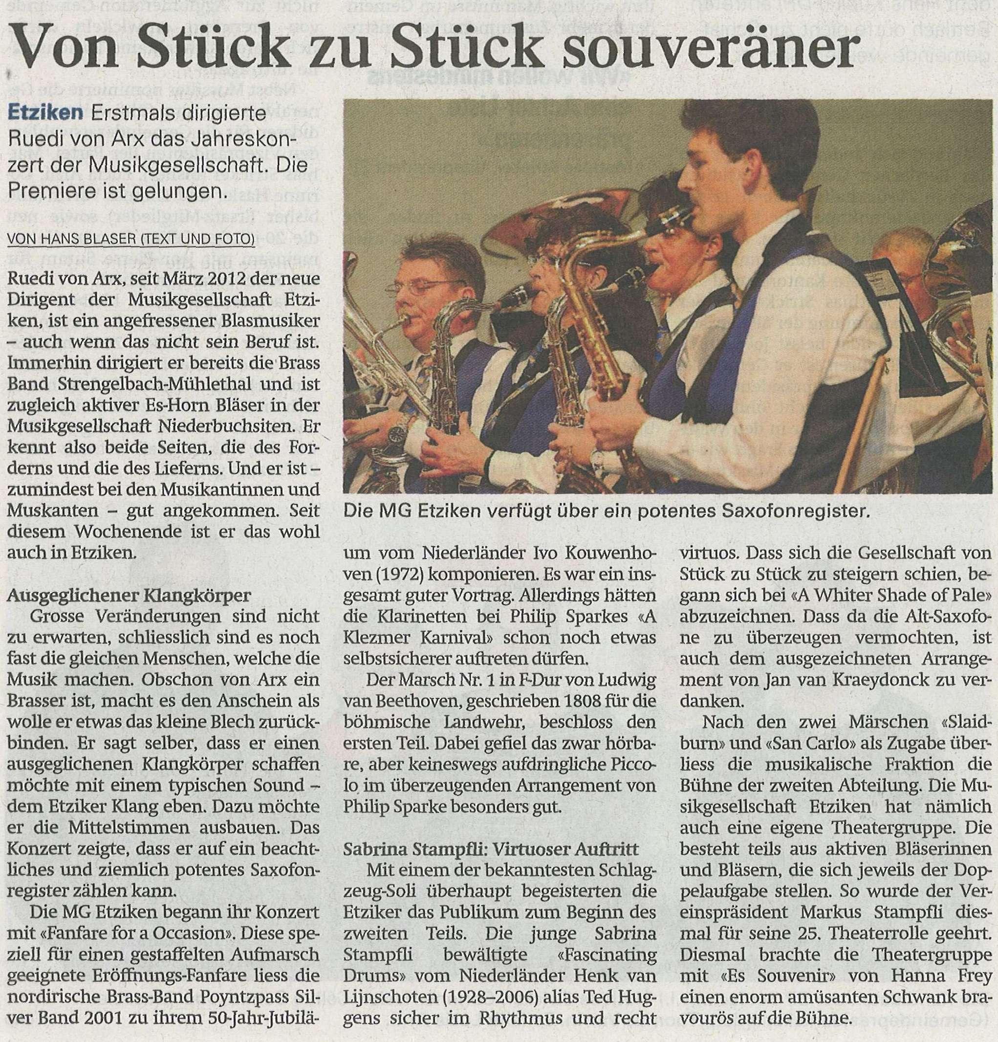 MG Etziken - Zeitungsbericht Konzert 2013